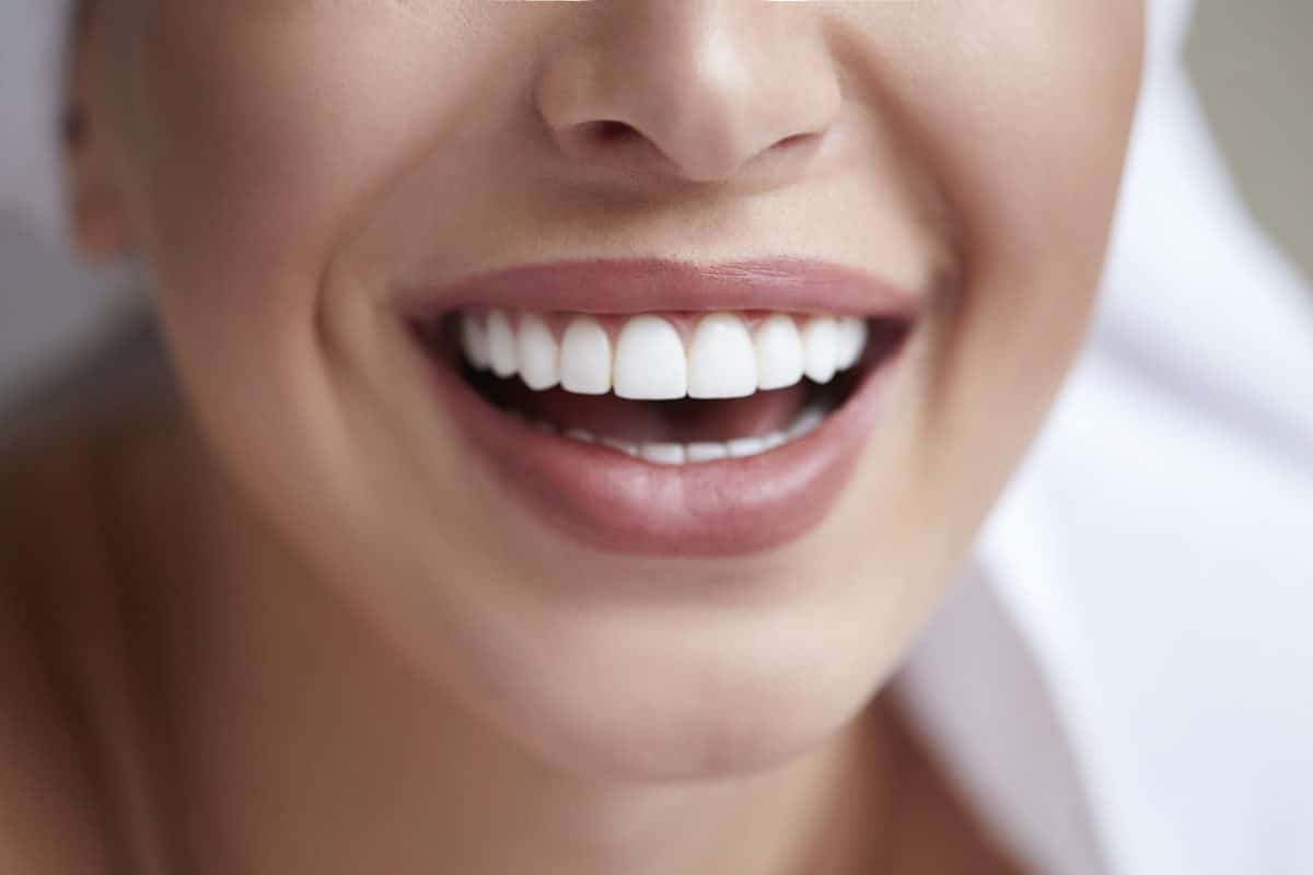 close up beautiful white smile